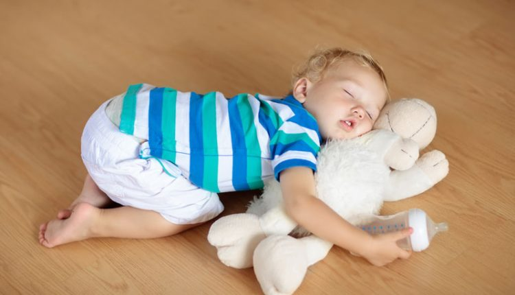 Baby Sleeping Hardwood Flooring