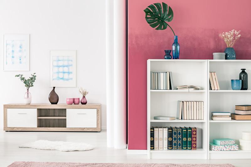 Bookshelf Pink Wall