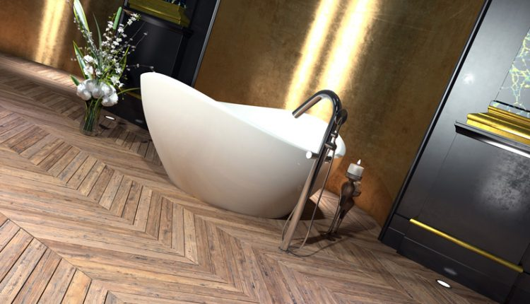 Hardwood Floor and Tub
